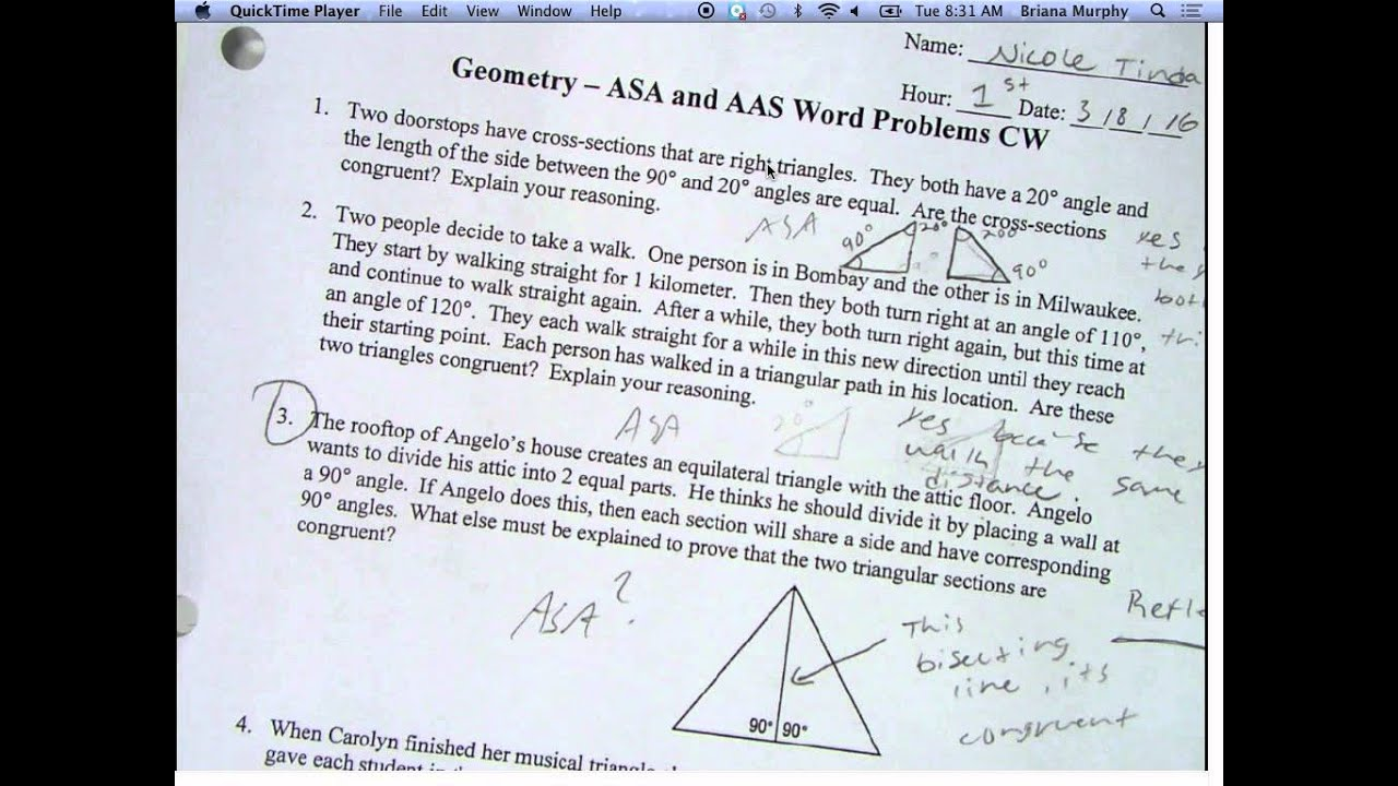 Asa And Aas Word Problems And Intro To Asa Aas Worksheet