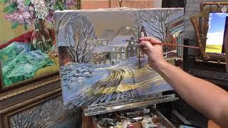 Картина маслом. Город в новогоднюю ночь. Этапы работы в живописи