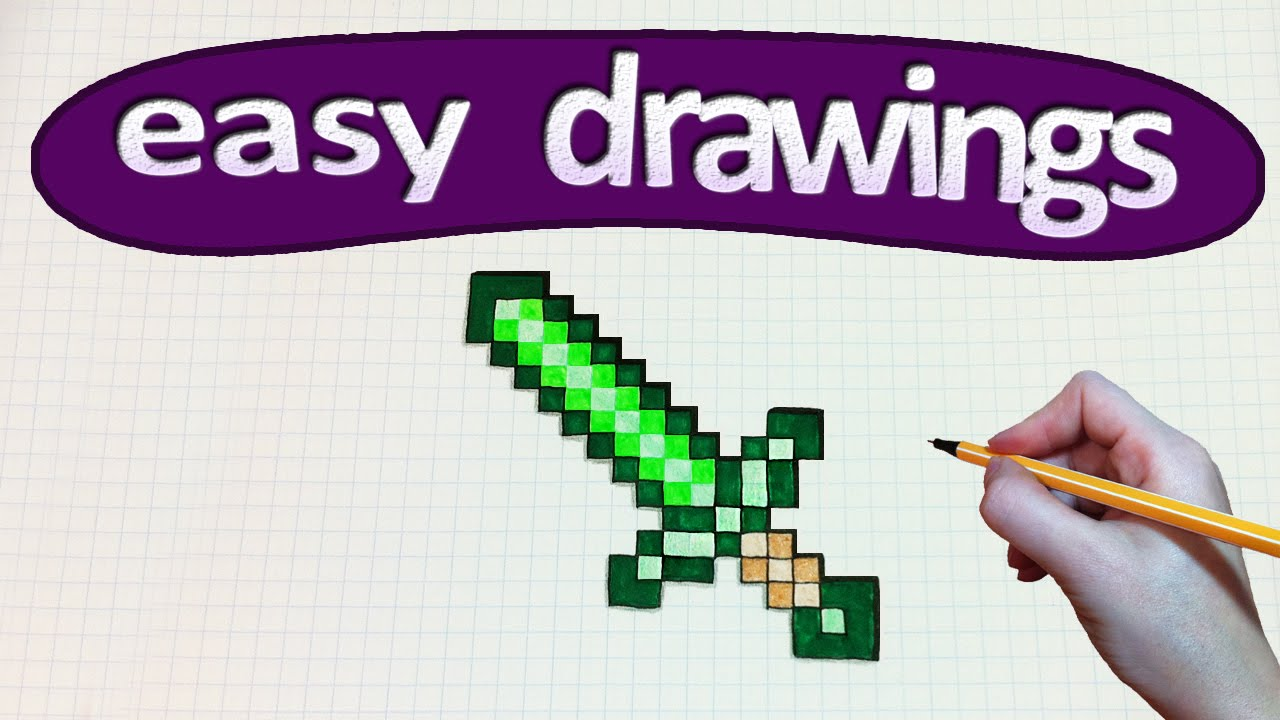 how to draw a sword from minecraft