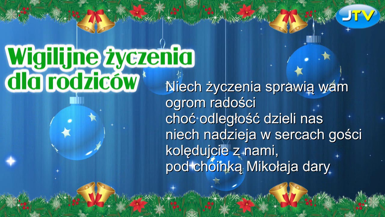 Życzenia wigilijne dla rodziców. Na święta Bożego Narodzenia. Od dzieci