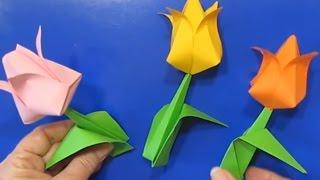 Как Сделать Подарок Маме Своими Руками Тюльпаны Цветы из Бумаги Оригами Легкие Поделки с детьми!