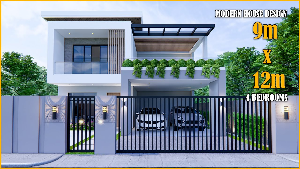 House Design | Modern House 2 Storey  | 9m x 12m with 4 Bedrooms