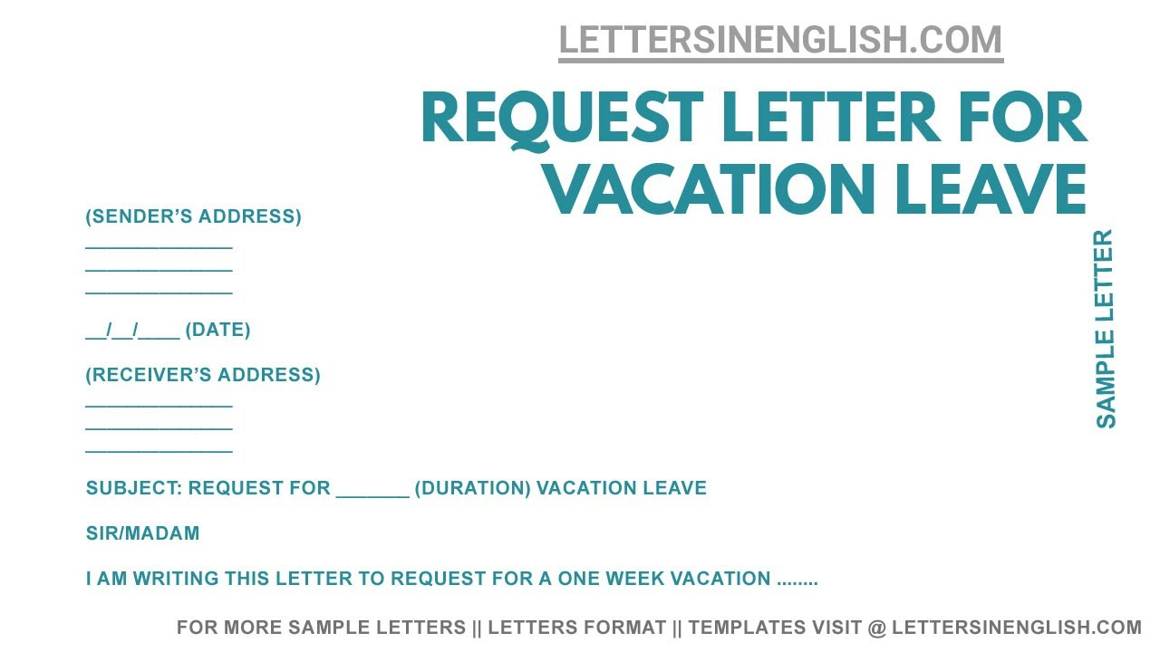 Letter Request For Vacation Leave – Sample Request Letter for