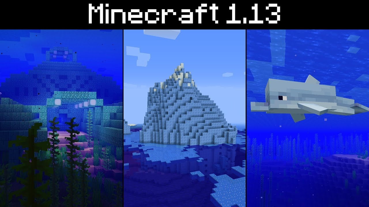 Minecraft 1.13 - Icebergs. Blue Ice. Dolphins. Ocean Water Colour. Underwater Darkness - YouTube