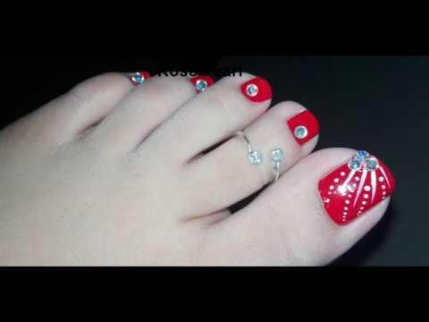Diy Festive Bling Pedicure Toe Nail Art Tutorial  Rose Pearl