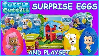 AWESOME Bubble Guppies Bubble Puppy Playhouse Set & 3 Character Pack + 3 Play Doh Surprise Toy Eggs