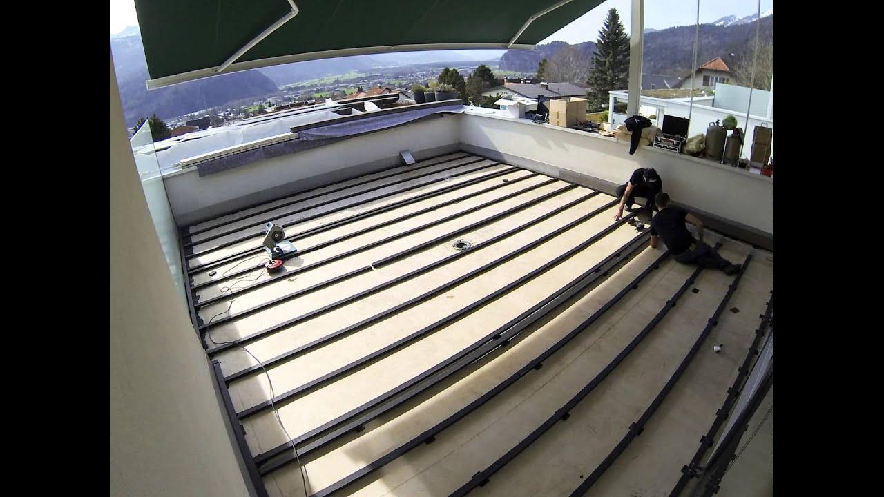 verlegung eines wpc rehau relazzo terrassenbodens youtube. Black Bedroom Furniture Sets. Home Design Ideas