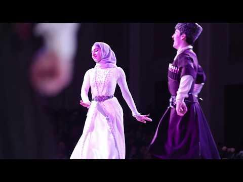 """Ансамбль """"Нохчо"""". Солисты: Зелим Хатуев и Линда Арсебиева. Танец."""