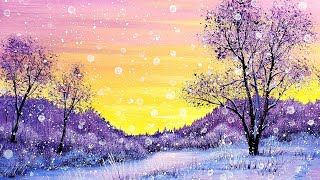 Snowy Winter Sunrise Landscape Acrylic Painting LIVE Tutorial