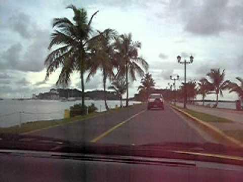 Driving on the Amador Causeway in Panama City, Panama.