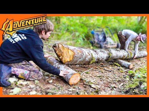 Using Primitive Wooden Wheels to Move First Logs for Our Bushcraft Log Cabin Build