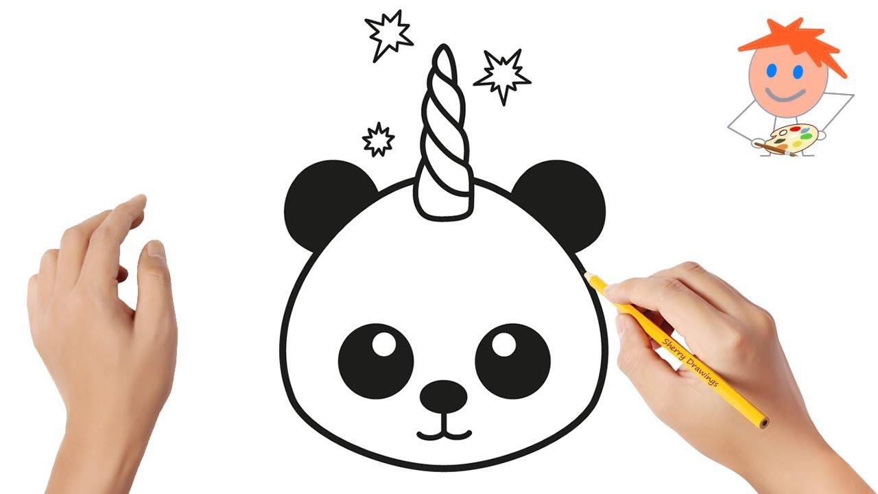 How to draw a pandacorn easy step by step | Drawing for ...