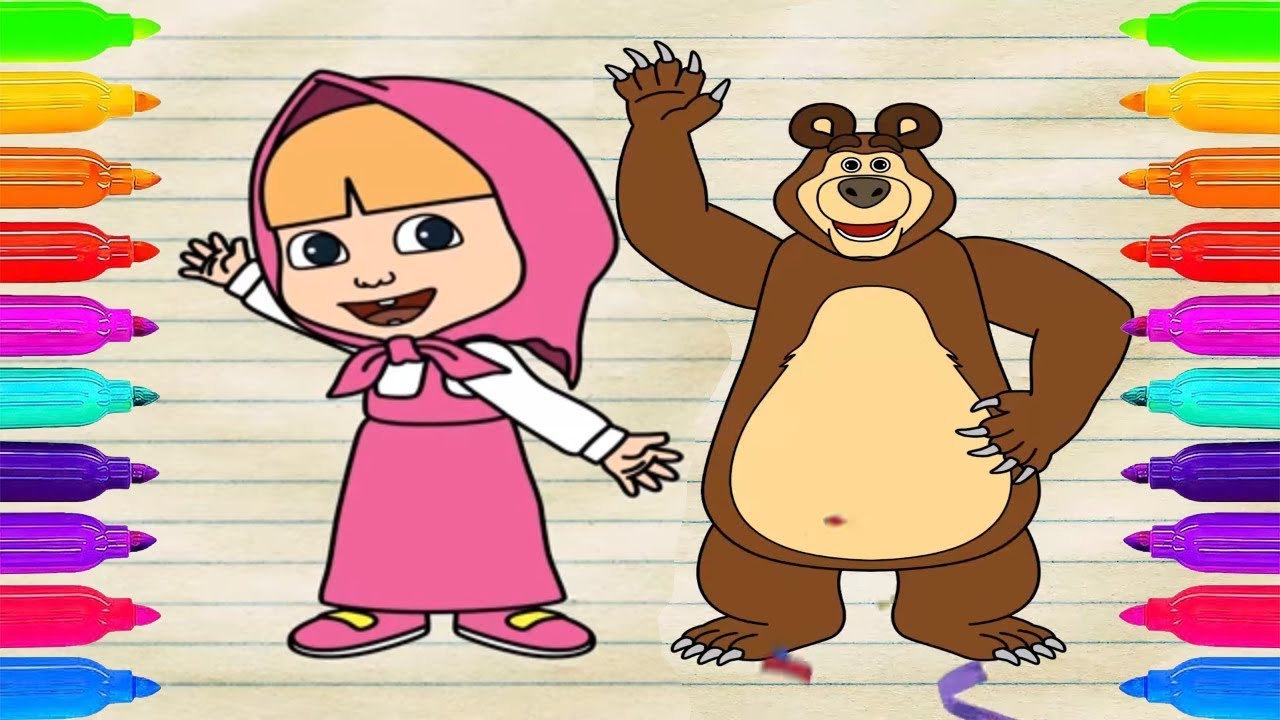 How To Draw Masha And The Bear Coloring Pages For Kids