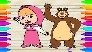 How To Draw Masha and The Bear, Coloring Pages for Kids - Teach drawing to kids