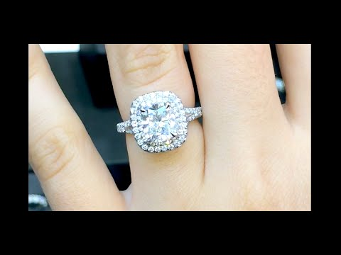 2 ct Elongated Cushion Cut Diamond Engagement Ring in Double Halo