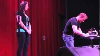 Wes Barker: Magician has fun with a girl on stage