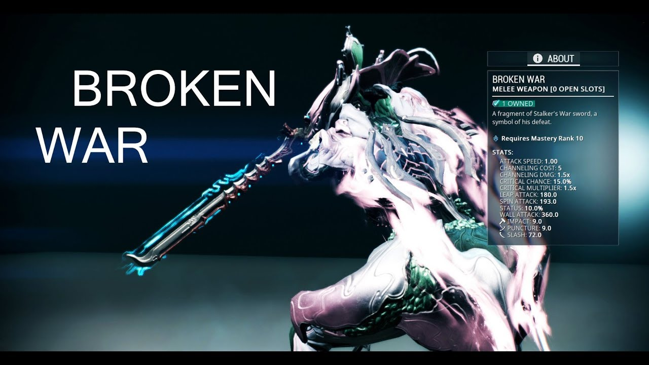 Warframe Broken War No Mods Max Rank Vs Lvl30 Enemies варфрейм