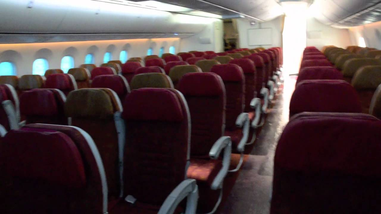 Air india 787 8 dreamliner cabin walk through youtube for International seating and decor