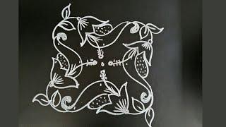 Simple daily rangoli..flower muggu..Easy daily kolam..5 to 3 dots..