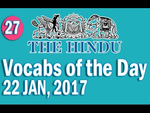 Daily The Hindu Vocabulary (22 JAN, 2017) - Learn 10 New Words with Tricks | Day-27