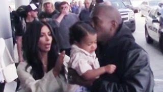 Kim Kardashian & Kanye West Mobbed By Papparazzi