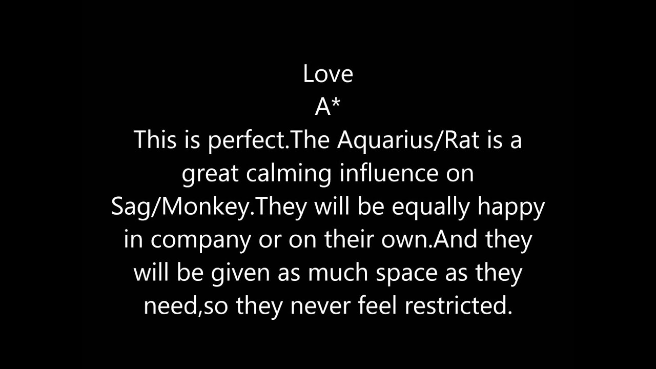 Sagittarius / Monkey & Aquarius / Rat Compatibility