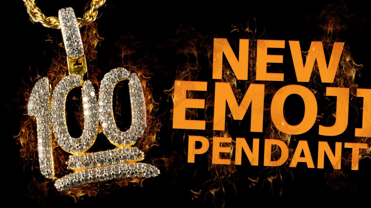 70e031ac605c0 18k Gold Iced Out 100 Emoji New & Hot Hip Hop Pendant from Niv's Bling