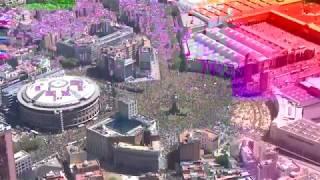 Barcelona. Manifestación por los presos. Imágenes aéreas 1