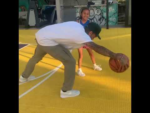 chris brown and his daughter royalty playing basketball together