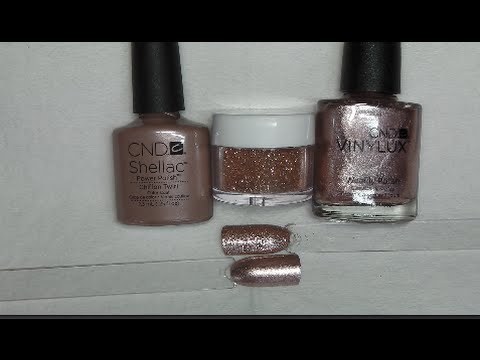 rose gold glitter nails tutorial  shellac and vinalux