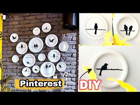 Budget Wall Decor with Paper Plate / Diy Paper Plate Wall art/ paper Plate crafts /easy Bird Art