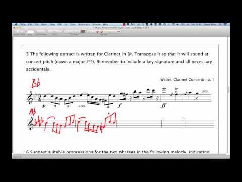 ABRSM Music Theory Grade 5  Question 5  Transposition