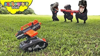 DINOSAURS vs. Nerf Terrascout - Skyheart Nerf War with dinosaurs for kids