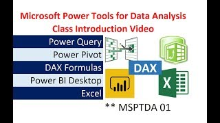 Microsoft Power Tools for Data Analysis: Dashboards & Reports. Class Introduction Video. MSPTDA #01.