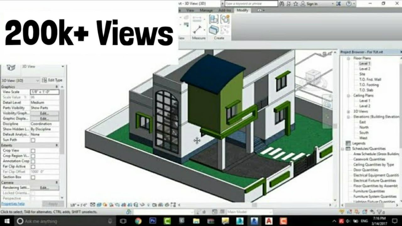 Revit architecture modern house design 3 youtube for Home architecture you tube