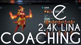 Dota 2 ecko Coaching 2.4k Lina - How to dominate lane vs melee heroes, mid game map movements
