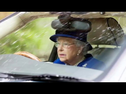 Queen Elizabeth (91) Driving Her Jaguar Car Back From Church At Windsor May 2017