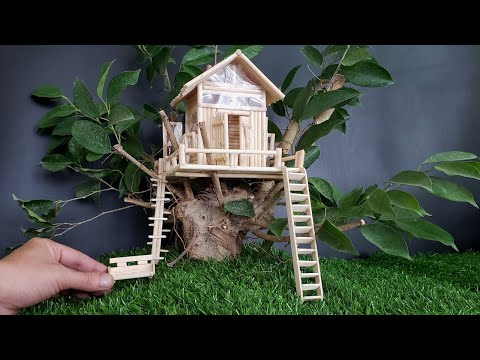 Diy How to make #TreeHouse from wooden sticks   Ben Diy Collection
