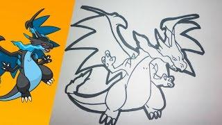 Como dibujar a MEGA CHARIZARD X paso a paso   how to draw MEGA CHARIZARD X step by step