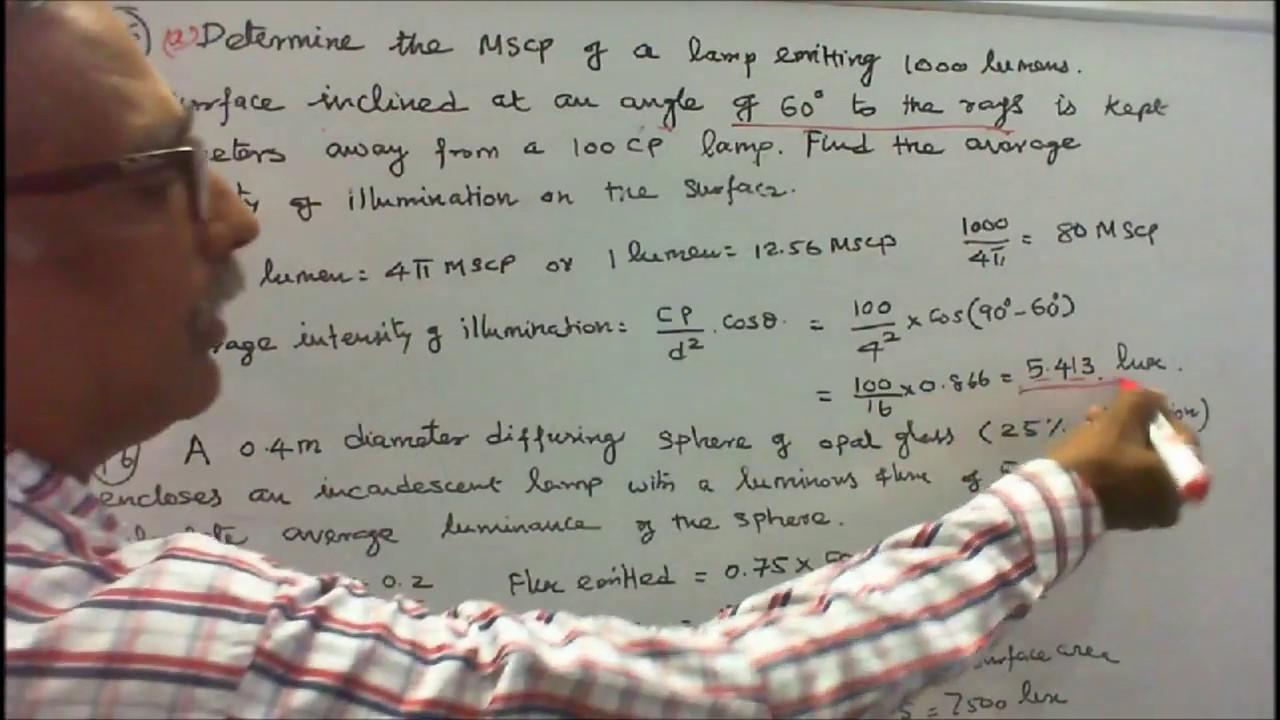 Illumination engineering part 04 ten simple problems in