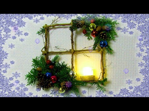 How to Make Simple Winter Decor of Branches - DIY Christmas Window Wreath