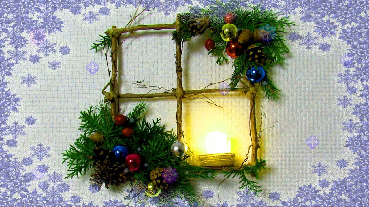 how to make simple winter decor of branches diy christmas window wreath