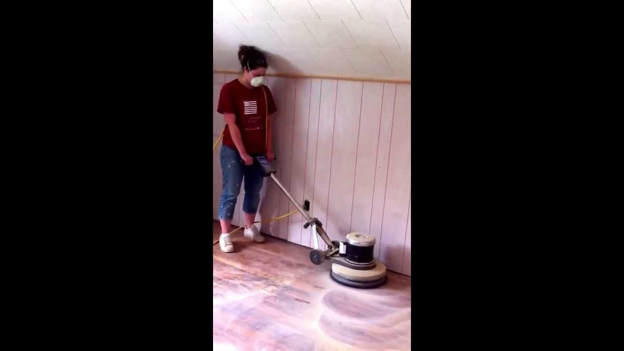 Captivating Christine Sanding The Floor Of Her House Using An Orbital Buffer With  Sanding Screen.   YouTube