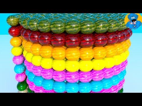 Learn Colors with Colorful Watermelons,Учим Цвета Арбузы,Aprendizaje a Color con Bolas de Colores