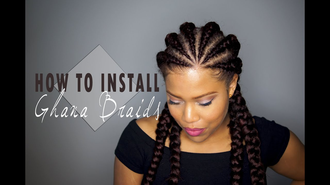 how to install ghana cornrows / invisible cornrows on natural hair