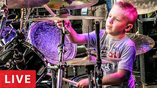 """Look What the Cat Dragged In-LIVE"" Avery 6 year old Drummer & French Kiss"