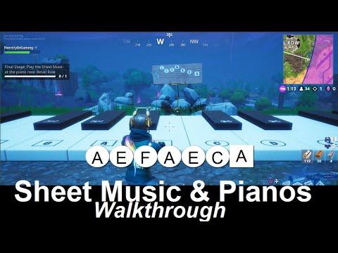 Fortnite - All Sheet Music & Piano Locations / Solutions - Season 6 Week 6 Challenge