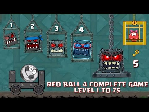 """RED BALL 4 - COMPLETE GAME """"LEVEL 1-75 """"ALL 5 BOSSES KILLED WALKTHROUGH (New Update)"""