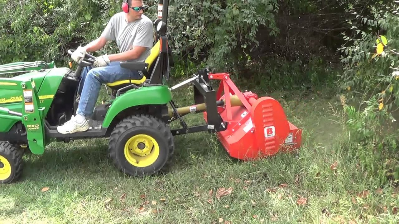 Hedge Row Clean Out With Flail Mower And Subcompact
