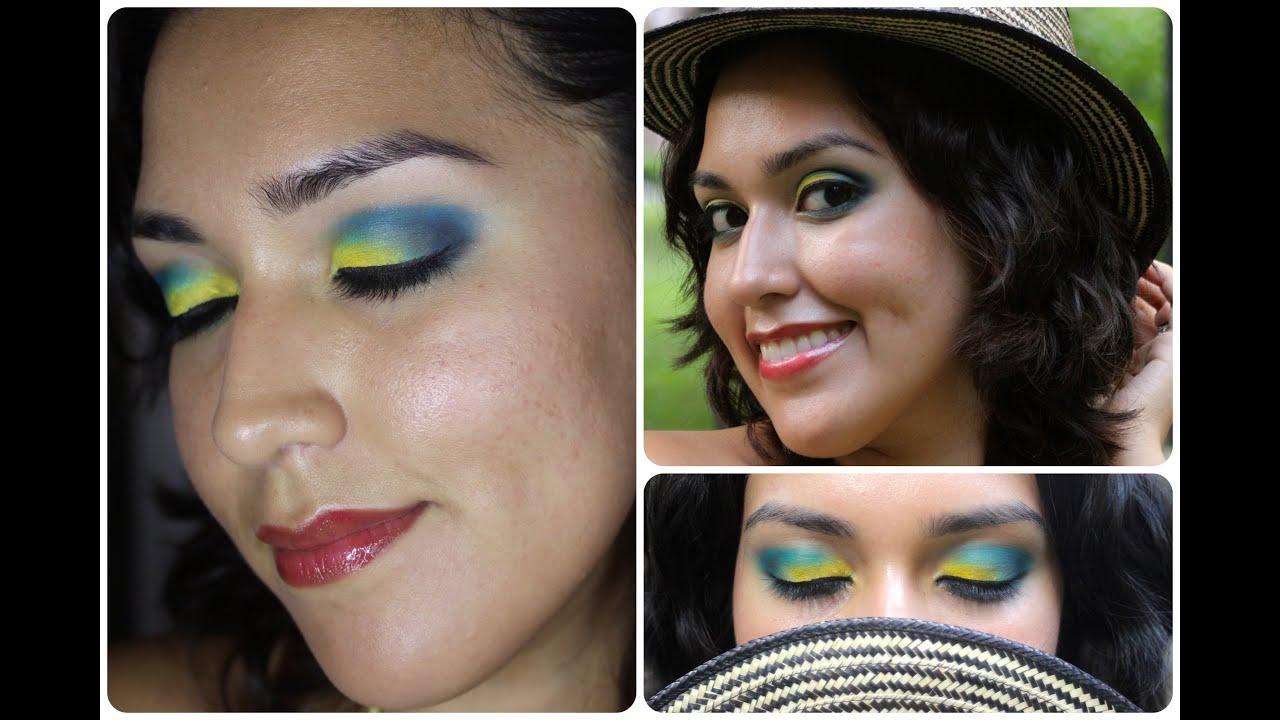 Maquillaje Amarillo Azul y Rojo - YouTube